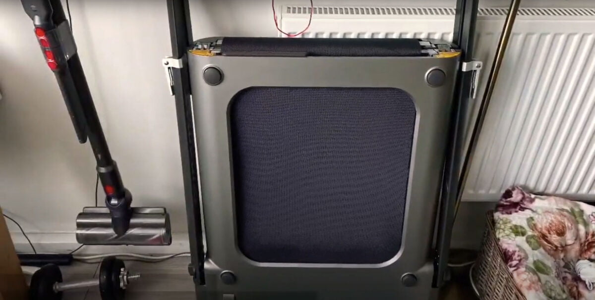 Dynamax Folding Treadmill folded away for storage tidy