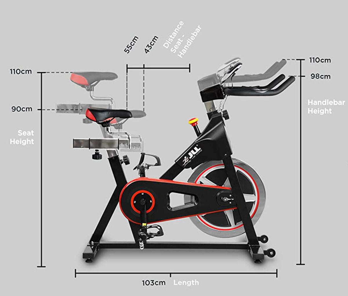 JLL IC300 Indoor Exercise Bike dimensions