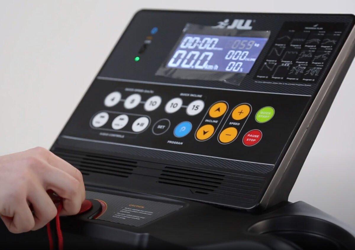 JLL T350 Digital Folding Treadmill LCD Screen and program buttons
