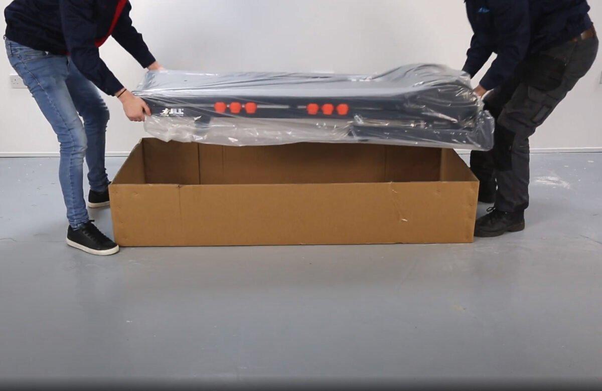 JLL T350 Folding Treadmill two men unboxing