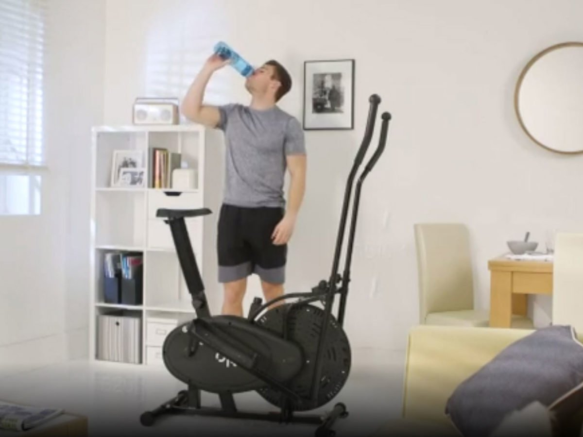 Using the Opti 2-in-1 Air Cross Trainer and Exercise Bike in living room