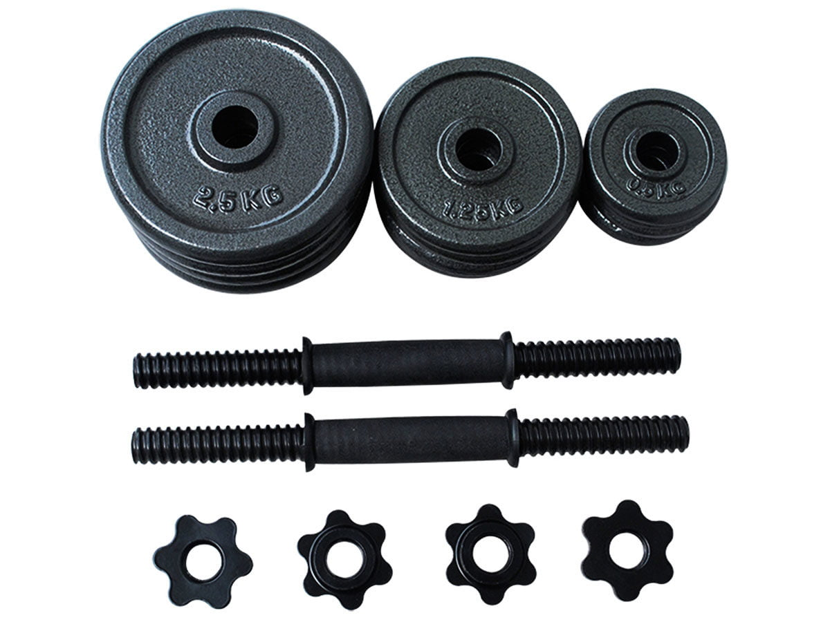 Opti Cast Iron Dumbbell Set 20kg view of the parts