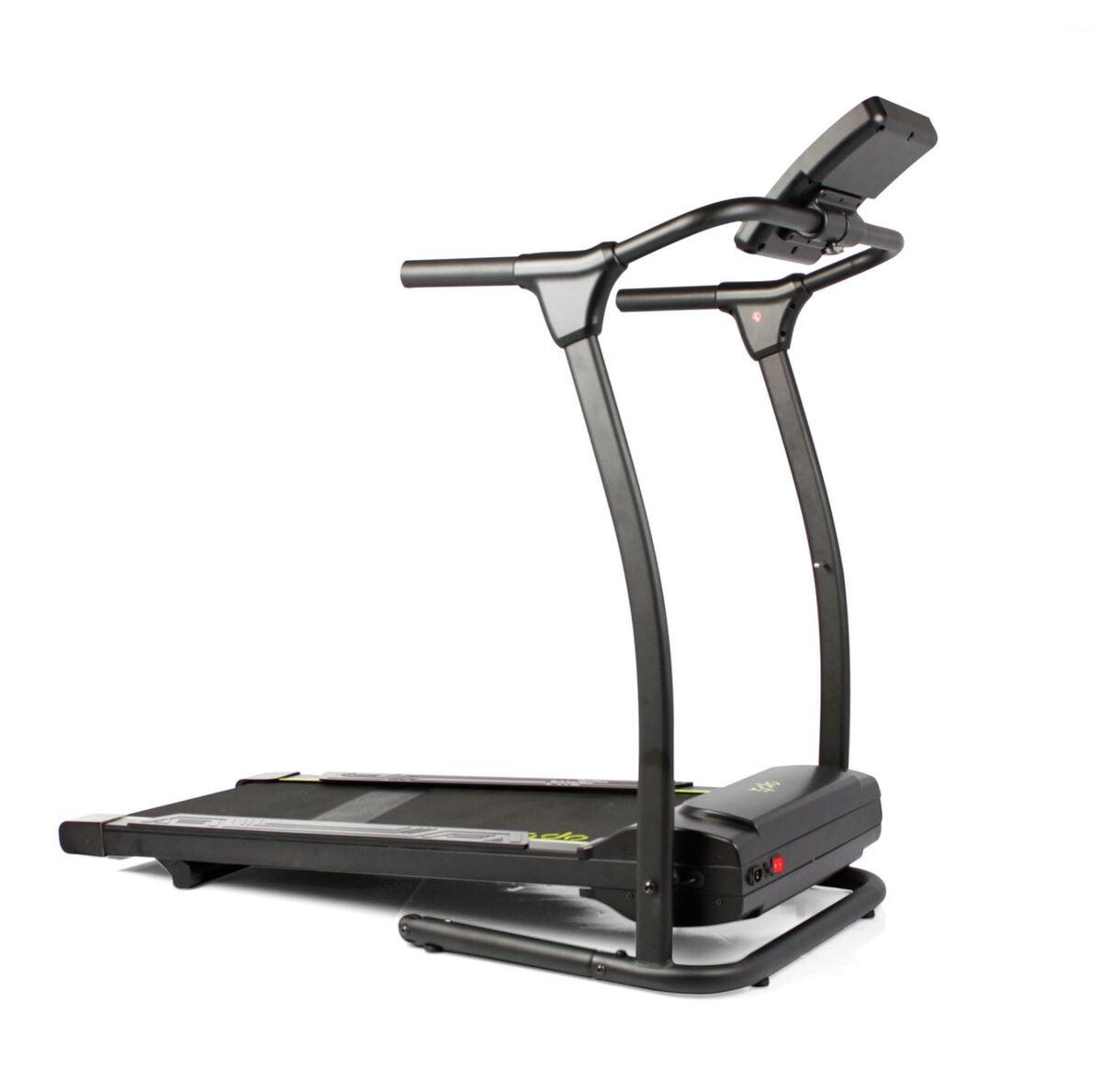 Opti Motorised Walking Treadmill in black and yellow
