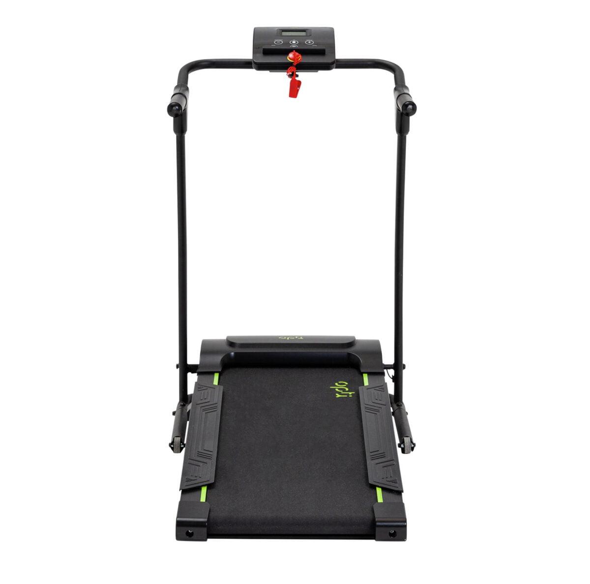 Opti Motorised Walking Treadmill running track in green and black