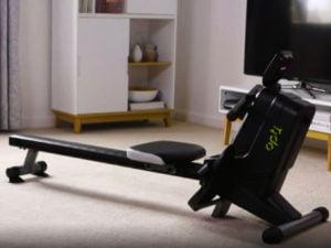 Opti magnetic rowing machine in living room