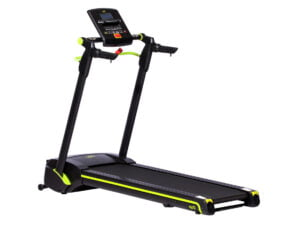 Opti easy fold electronic treadmill review in black and yellow