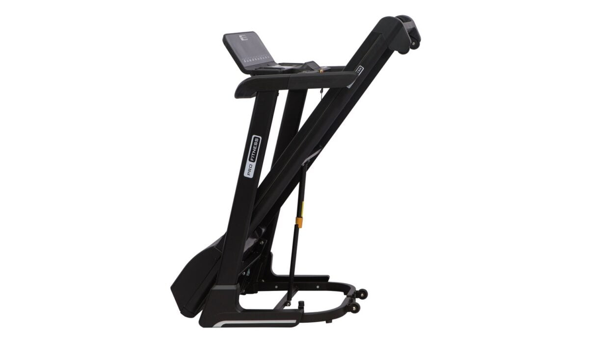 Pro Fitness T1000 Folding Treadmill folded up for storage