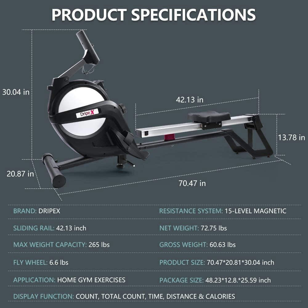 Specs sheet for Dripex Rowing Machine