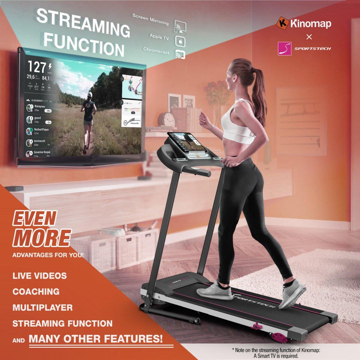 Women running on Sportstech F10 Treadmill