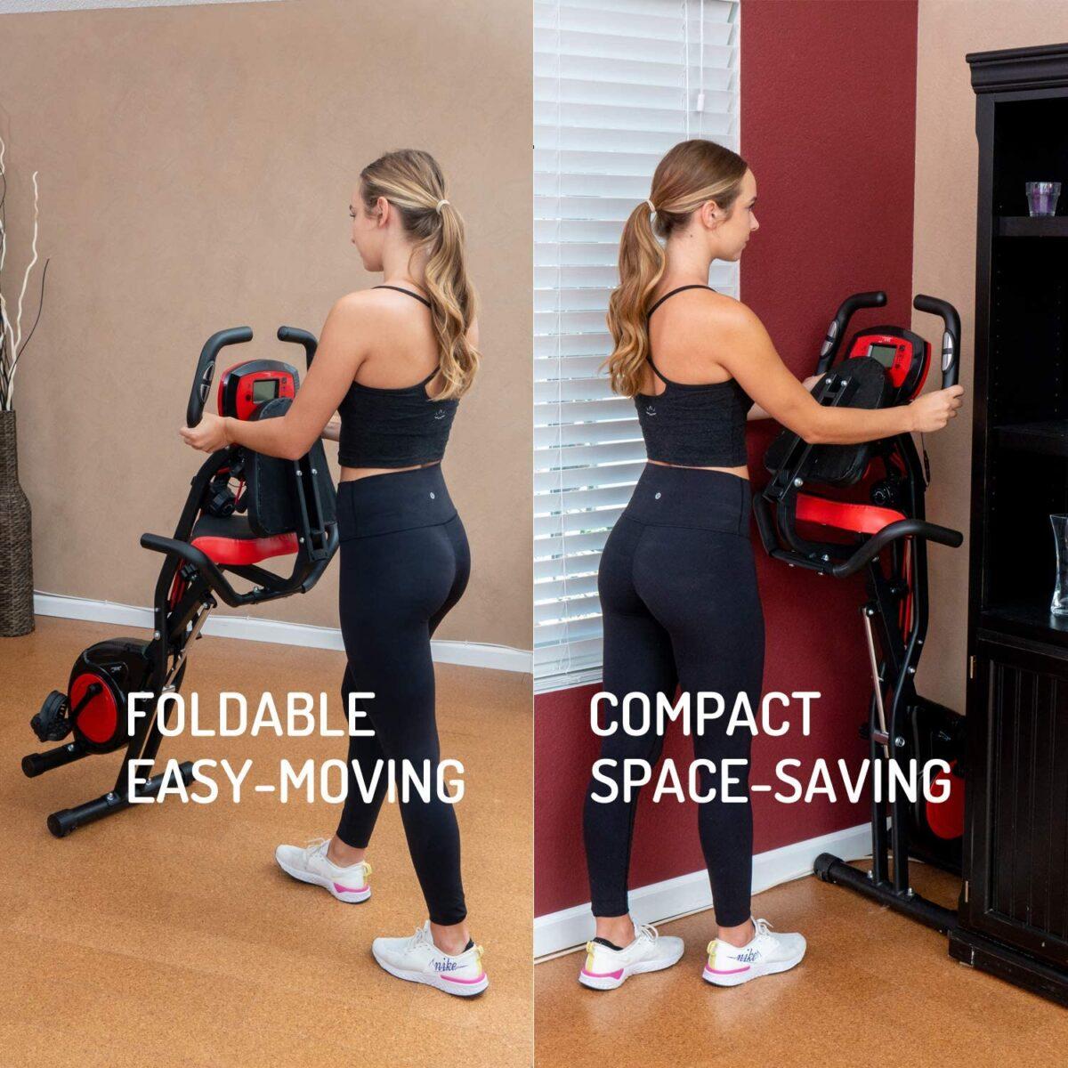 YYFITT 2 in 1 Foldable Fitness Exercise Bike folded away for storage space saving