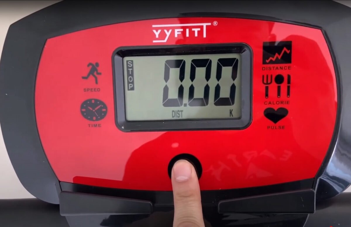 YYFITT 2 in 1 Foldable Fitness Exercise Bike seat LCD display red
