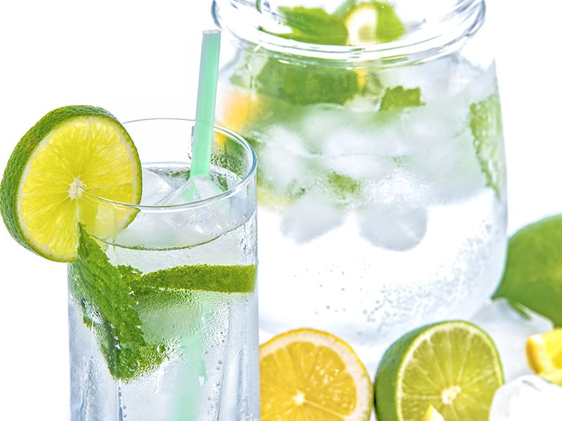 Drink lots of water to stay hydrated water with lemon