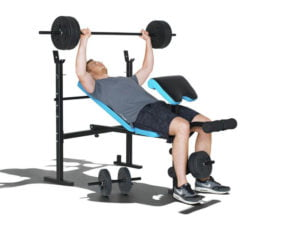 Bench press on the men's health workout bench