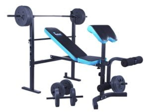 men's health weights bench with 35kg weights