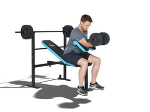 Bicep curl on the men's health workout bench