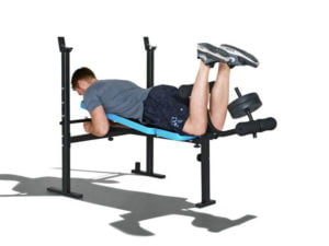 Leg curl men's health workout bench with 35kg weights