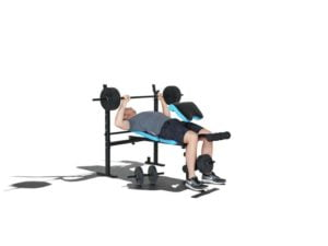 Bench press on Men's Health workout bench