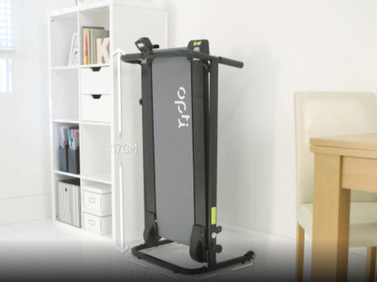 Opti non-motorised treadmill folded away